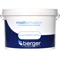 Berger  Matt Emulsion Brilliant White Paint - 10 Litre
