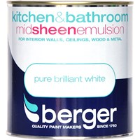 Berger  Kitchen & Bathroom Brilliant White Paint - 1 Litre