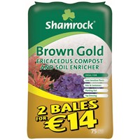 Shamrock  Brown Gold Ericaceous Compost & Soil Enricher - 2 for €14