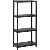 Hamble  4 Tier Black Plastic Shelving Storage Unit