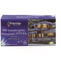 Premier Decorations  180 Supabright LED Snowing Icicle Lights - White